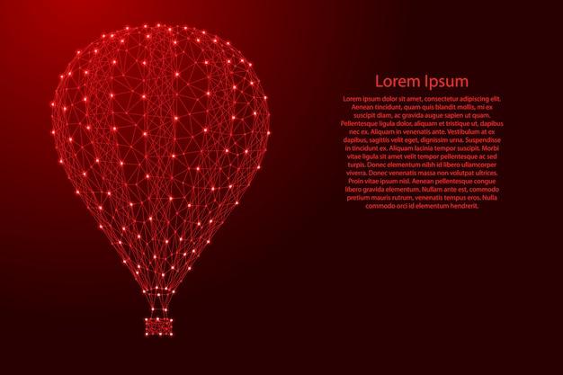 Luftballon, zum in den himmel von den futuristischen polygonalen roten linien zu fliegen Premium Vektoren