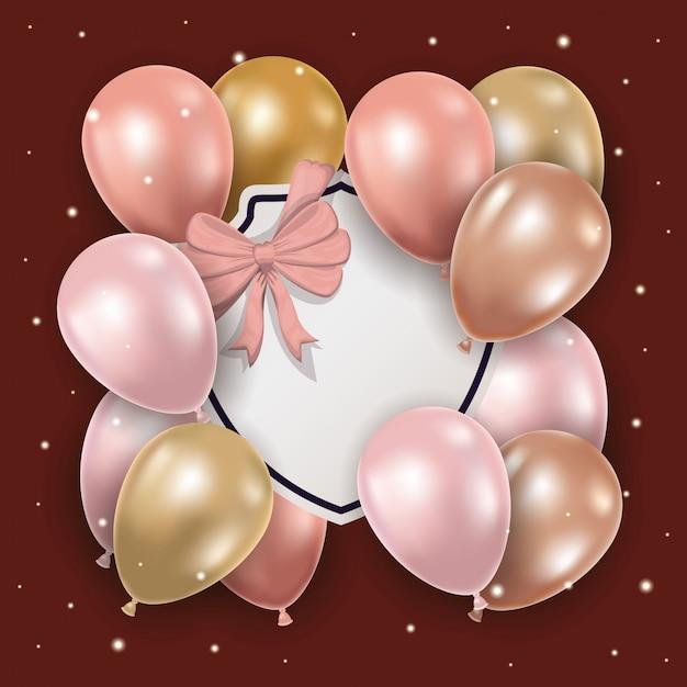 Luftballons mit schleife und etikett Kostenlosen Vektoren