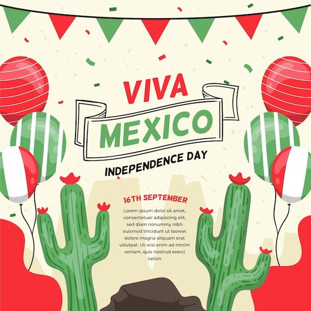 Luftballons und kakteen internationaler tag von mexiko Kostenlosen Vektoren