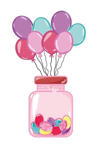 Luftballons und süße süßigkeiten in glasflasche Premium Vektoren