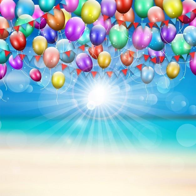 Luftballons Und Wimpel Auf Einem Sommer Strand Hintergrund