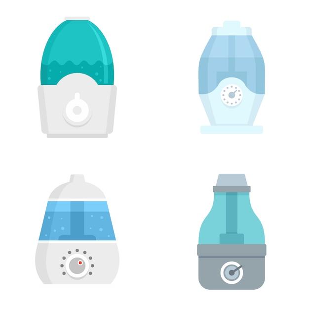 Luftbefeuchter-icon-set Premium Vektoren
