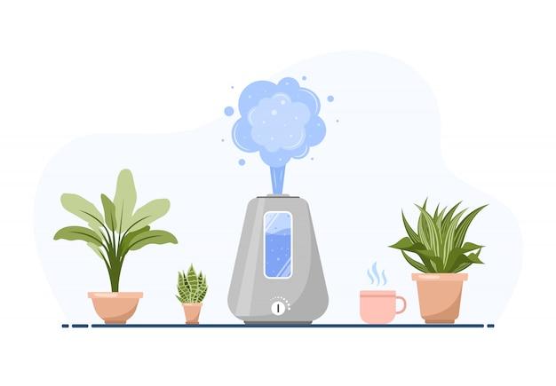 Luftbefeuchter mit zimmerpflanzen. ausrüstung für zu hause oder im büro. ultraschall-luftreiniger im innenraum. reinigungs- und befeuchtungsgerät. moderne illustration im karikaturstil. Premium Vektoren