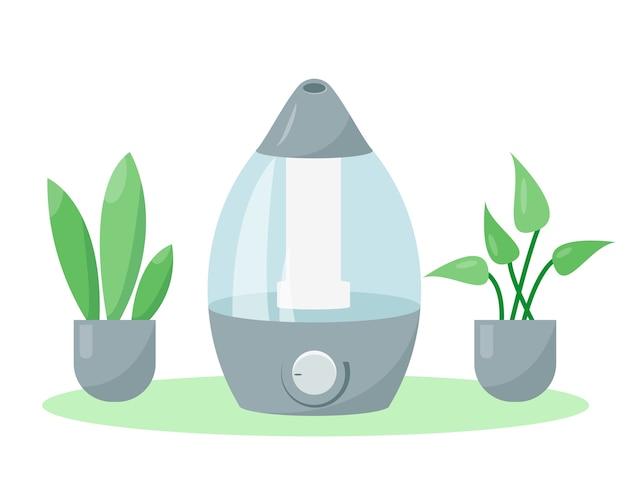 Luftbefeuchter oder luftfeuchtigkeitscreme und pflanzen vektorsymbol illustration ausrüstung für zu hause oder im büro Premium Vektoren