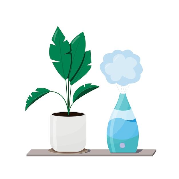 Luftbefeuchter und pflanzen geräte für zu hause oder im büro. luftreiniger in der innenillustration mit zimmerpflanze. luftreinigungs- und befeuchtungsgerät für das haus. Premium Vektoren