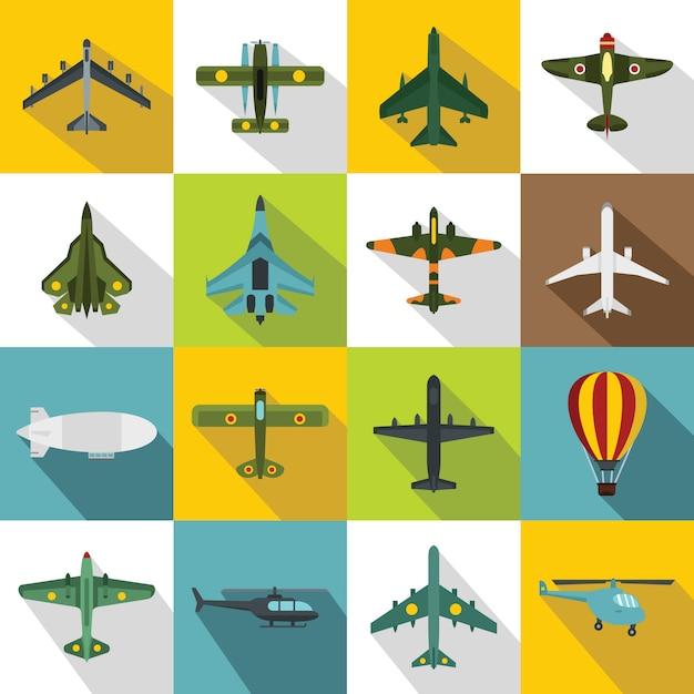 Luftfahrtikonen eingestellt, flache art Premium Vektoren