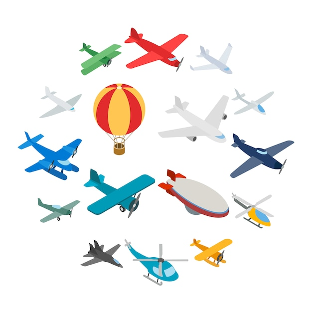 Luftfahrtikonen eingestellt, isometrische art 3d Premium Vektoren