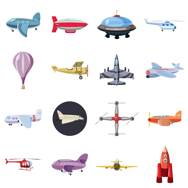 Luftfahrtikonen eingestellt, karikaturart Premium Vektoren