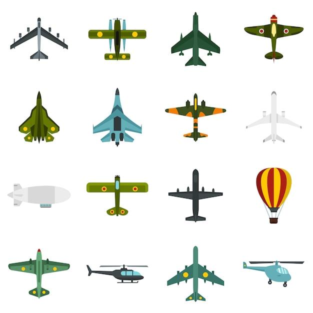 Luftfahrtikonen eingestellt Premium Vektoren