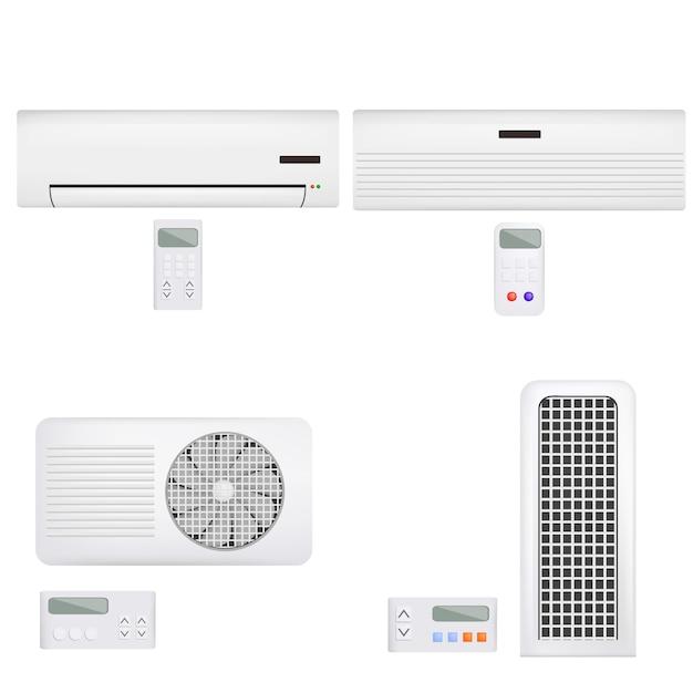 Luftfilter-entlüftungs-fernbedienungsmodell für klimaanlage. realistische abbildung von 4 conditioner-luftfilterentlüftungsfernvektormodellen für web Premium Vektoren