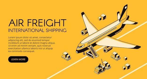 Luftfrachtlogistikillustration des flugzeuges und der pakete auf gabelstapler- oder laderpalette Kostenlosen Vektoren