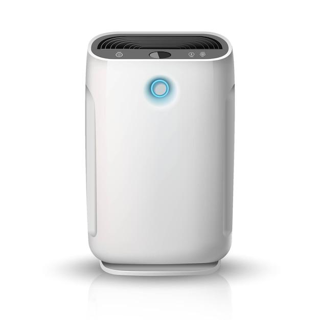 Luftreiniger, auf weißem hintergrund illustrationssymbol. luftreinigungs- und befeuchtungsgerät für das haus. Premium Vektoren