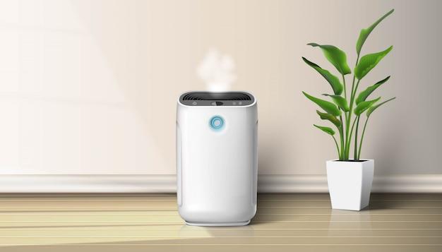Luftreiniger im innenraum auf der holzbodenhintergrundillustration mit zimmerpflanze auf dem boden. luftreinigungs- und befeuchtungsgerät für das haus. Premium Vektoren