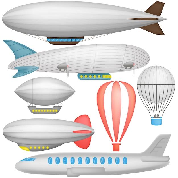 Luftschiff, ballone und flugzeug in der lokalisierten illustration der ikonen sammlung Premium Vektoren