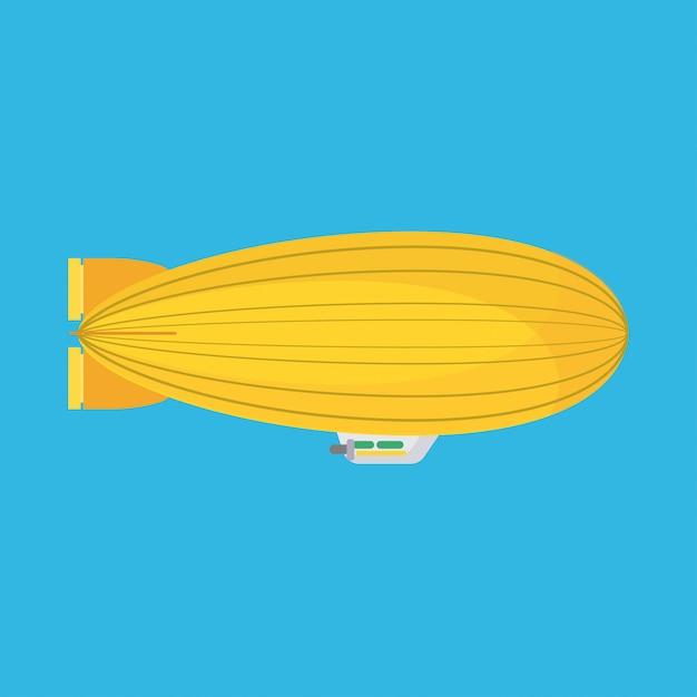 Luftschiff seitenansicht vektor icon luftschiff. heliumzeppelinwolken-aerostat-luftballon. Premium Vektoren