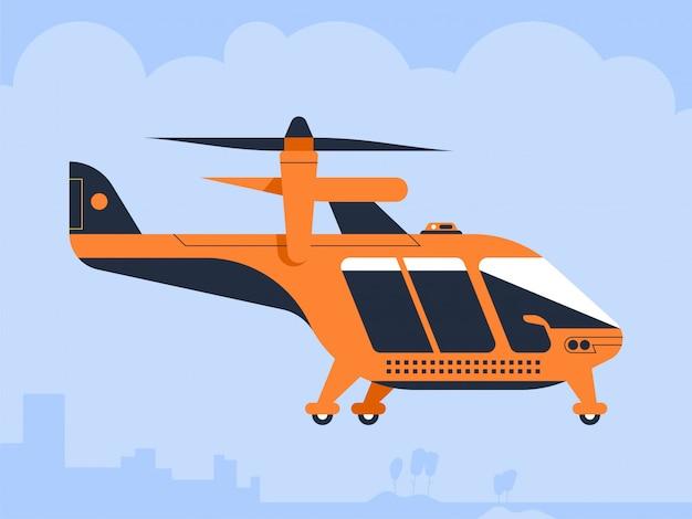 Lufttaxidrohne passagier quadcopter fliegendes fahrzeug Premium Vektoren