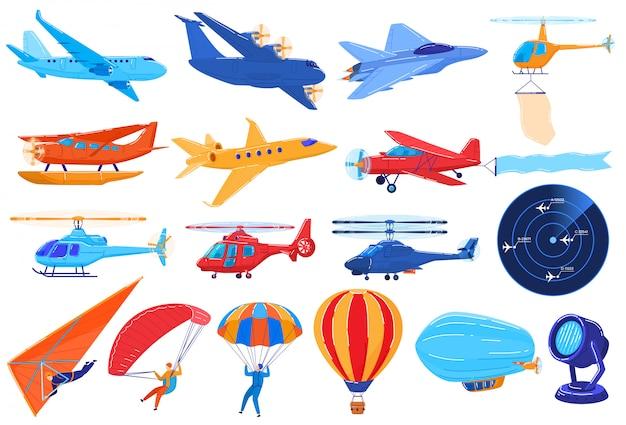 Lufttransport lokalisiert auf weiß, satz flugzeuge und hubschrauber im karikaturstil, illustration Premium Vektoren