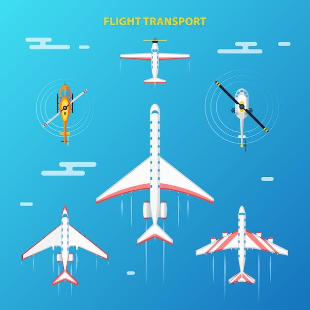 Luftverkehr flughafen elemente gesetzt Kostenlosen Vektoren