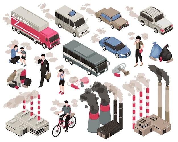 Luftverschmutzung in der stadt isometrisch eingestellt mit industrie-symbolen isoliert Kostenlosen Vektoren