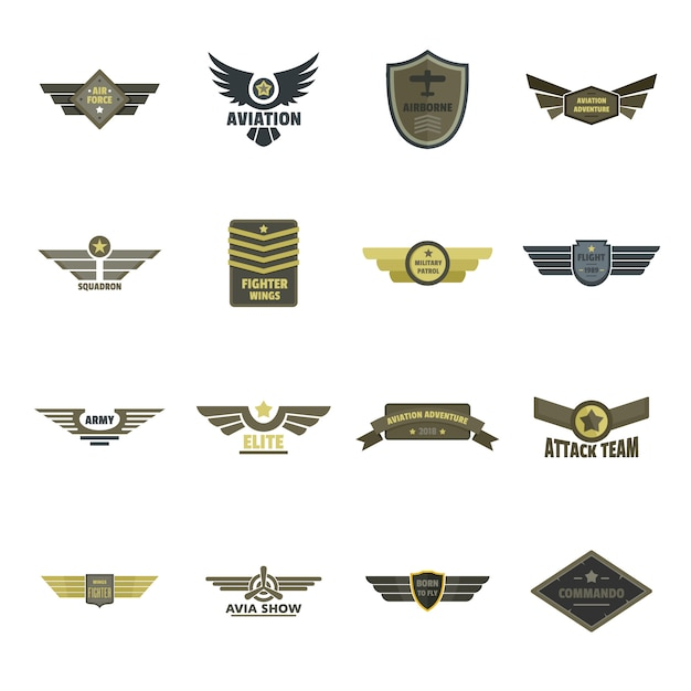 Luftwaffenmarinomilitärlogoikonen eingestellt Premium Vektoren