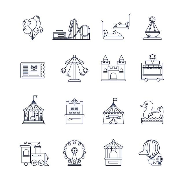 Luna park vergnügungslinie symbole Premium Vektoren