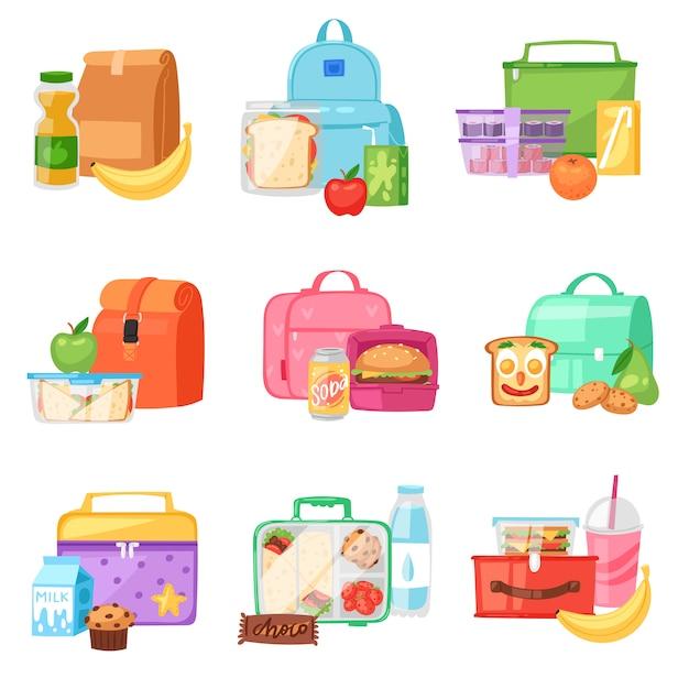 Lunchbox schule lunchbox mit gesundem essen obst oder gemüse in kinderbehälter in tasche illustration gesetzt Premium Vektoren