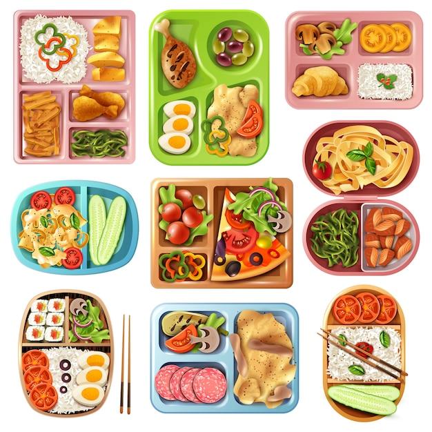 Lunchpakete eingestellt Kostenlosen Vektoren