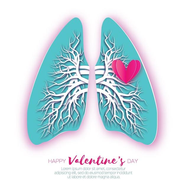 Lungen origami. liebesherz. blue paper cut anatomie der menschlichen lunge mit bronchialbaum Premium Vektoren