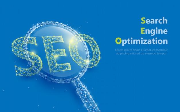 Lupe mit seo-zeichen bilden linien und dreiecke Premium Vektoren