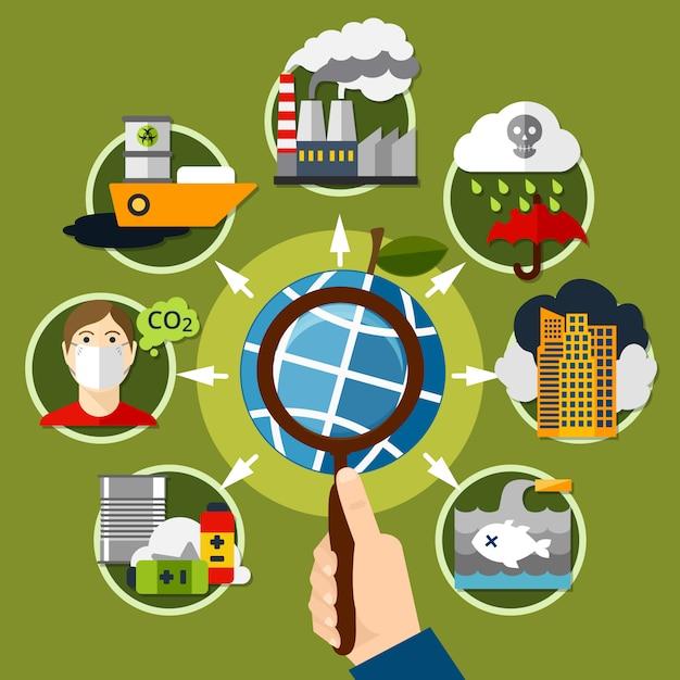 Lupe mit umweltverschmutzungselementen herum Kostenlosen Vektoren