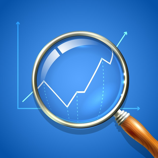 Lupe und diagramm Kostenlosen Vektoren