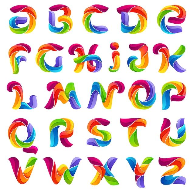 Lustige alphabetbuchstaben gebildet durch verdrehte linien. Premium Vektoren