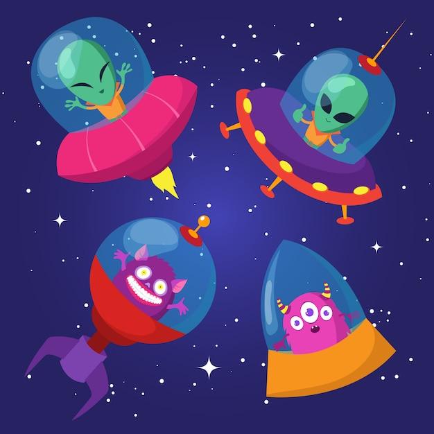 Lustige ausländer der karikatur mit ufo im sternenklaren himmelsatz der ente Premium Vektoren