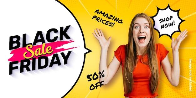 Lustige black friday banner vorlage mit sprechblase und comic zoom hintergrund Kostenlosen Vektoren