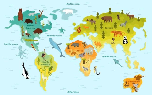 Lustige cartoon-tierweltkarte für kinder mit den kontinenten, den ozeanen und vielen lustigen tieren Premium Vektoren