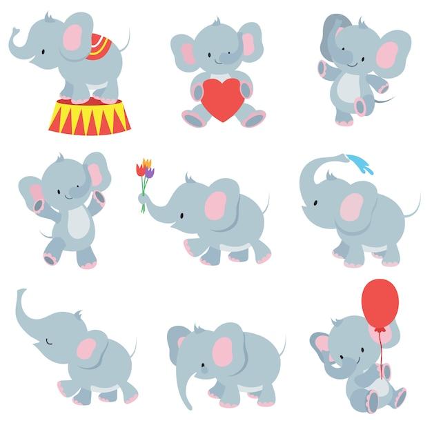 Lustige cartoonbaby-elefantsammlung für kinderaufkleber Premium Vektoren