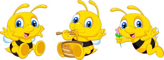 Lustige cartoonbienensammlung Premium Vektoren