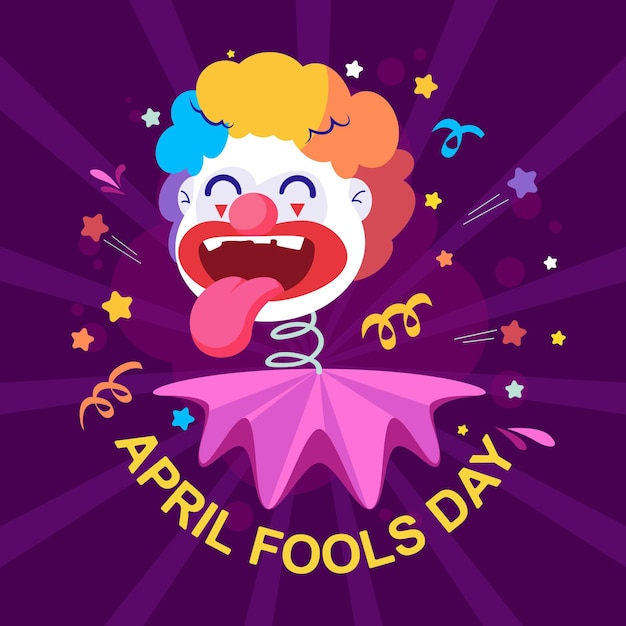 Lustige clown-flachillustration für fools day, aprilscherz-grußkarte Premium Vektoren