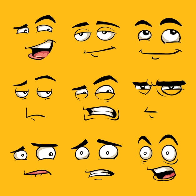Lustige Comic Gesichter