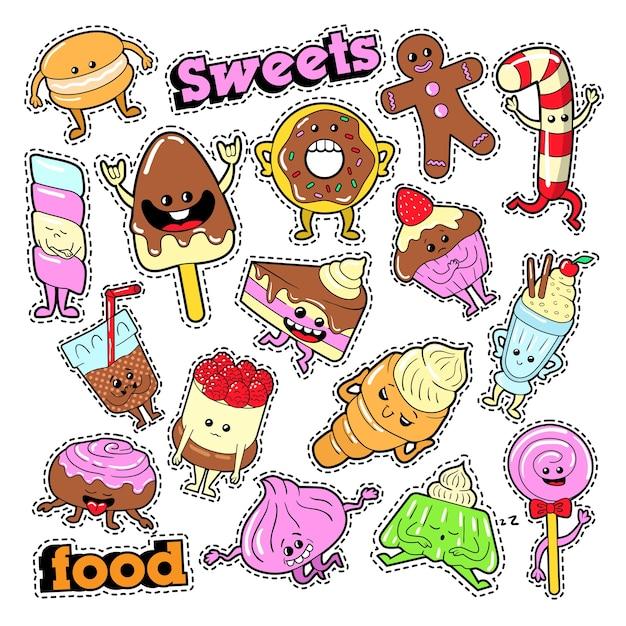 Lustige dessert-charaktere gesichts-emoji für abzeichen, aufnäher, aufkleber. vektor gekritzel Premium Vektoren