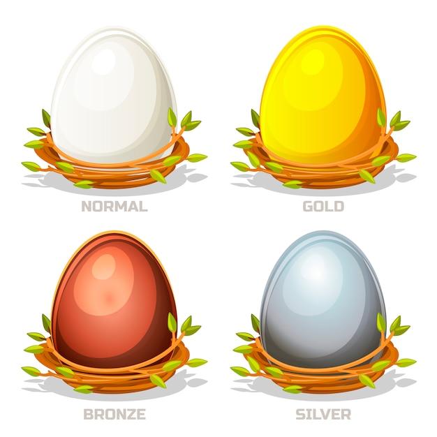 Lustige farbige eier der karikatur im vogelnest von zweigen Premium Vektoren
