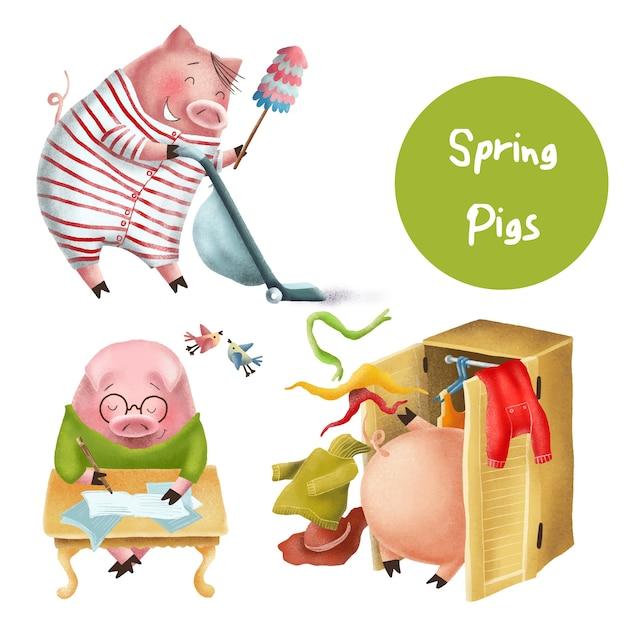Lustige frühlingsschweincharaktere Premium Vektoren