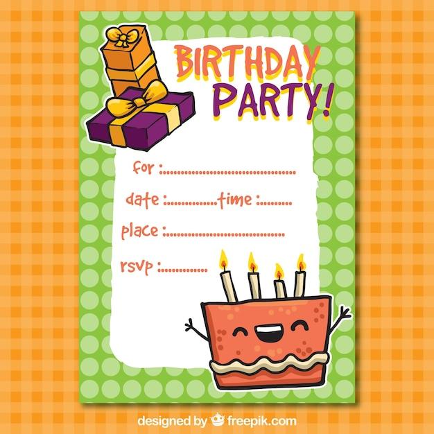 Lustige Geburtstags-Party Einladung | Download der kostenlosen Vektor