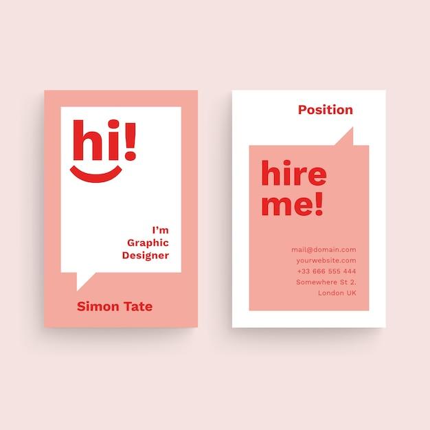 Lustige grafikdesigner-visitenkarteschablone Premium Vektoren