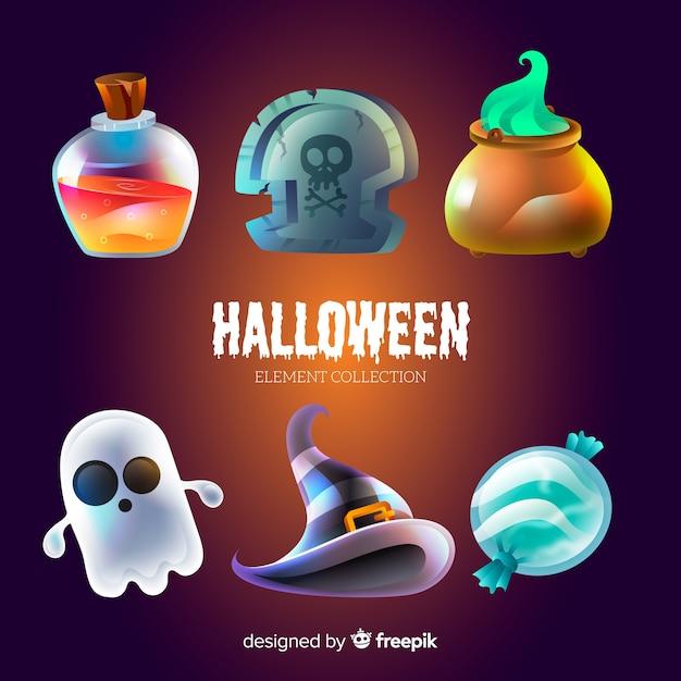 Lustige halloween-elementsammlung Kostenlosen Vektoren