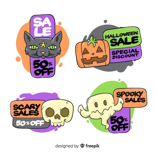 Lustige halloween-geschöpfe für verkaufsausweissammlung Kostenlosen Vektoren