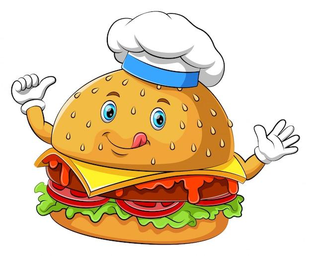 Lustige hamburgerzeichentrickfilm-figur Premium Vektoren