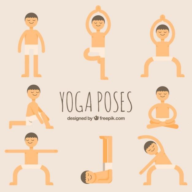 Lustige Hand Gezeichnete Yoga Posen Gesetzt Download Der