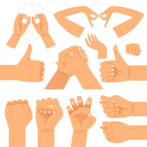 Lustige handgläser formen, händedruck und daumen hoch, faust- und katzenklauenhandgesten Premium Vektoren
