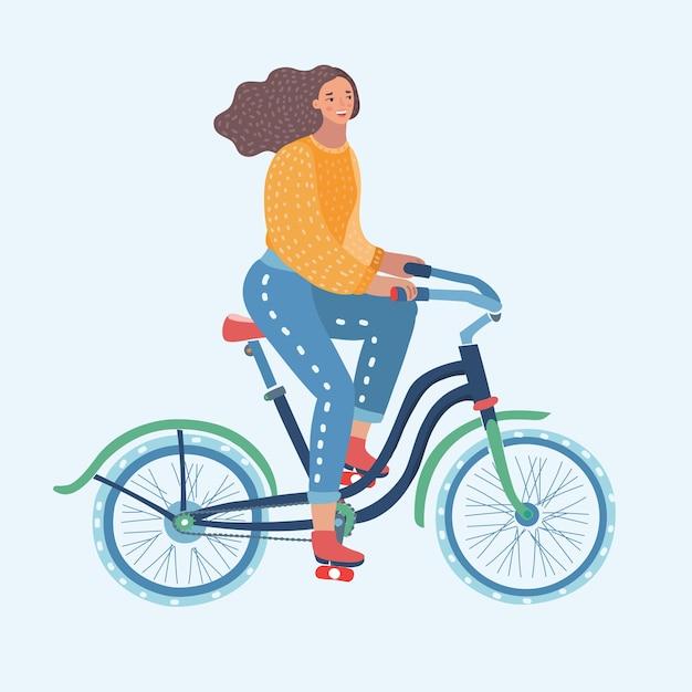Lustige illustration der vektorkarikatur der frau, die bycicle reitet Premium Vektoren